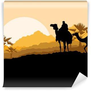Vinylová Fototapeta Velbloudí karavana v poušti divoké horské přírody krajiny poza