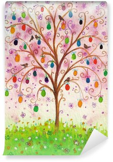 Vinylová Fototapeta Velikonoční kvetoucí strom s vejci a ptáci roste na poli.