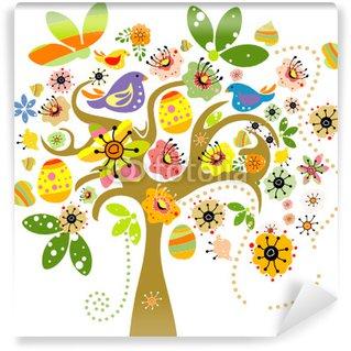 Vinylová Fototapeta Velikonoční prvky na stromě