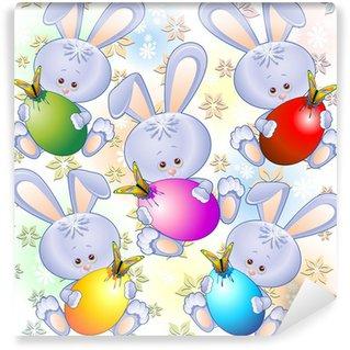 Vinylová Fototapeta Velikonoční zajíčci pro děti-Cute Easter Bunny vzor