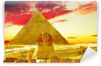 Vinylová Fototapeta Velká pyramida faraóna Chufu, která se nachází v Gíze a Sfingy.