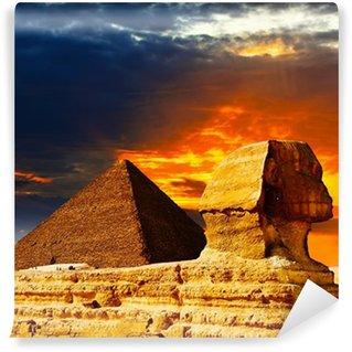 Vinylová Fototapeta Velká sfinga a pyramidy v západu slunce
