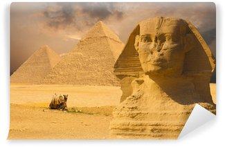 Vinylová Fototapeta Velká sfinga Face Pyramidy slunce na pozadí