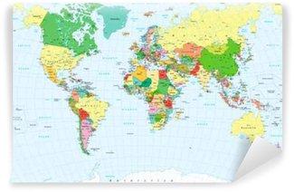 Vinylová Fototapeta Velké detailní politické Mapa světa a vodní objekty