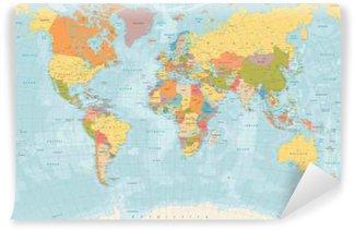Vinylová Fototapeta Velký detailní vintage barvy politická mapa světa s jezery a