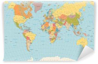 Vinylová Fototapeta Velký detailní vintage barvy politická World Map