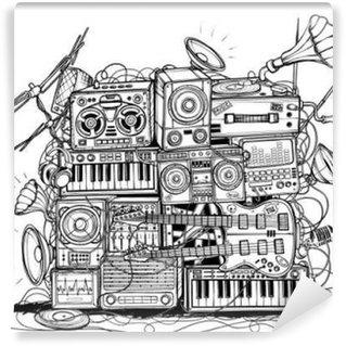 Vinylová Fototapeta Velký univerzální hudební centrum. Černý a bílý