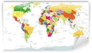 Vinylová Fototapeta Velmi podrobné Politická World Map Na Bílém