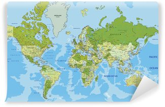 Vinylová Fototapeta Velmi podrobné satelitní politický svět se označování.