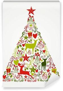 Vinylová Fototapeta Veselé vánoční strom tvar plné prvky složení EPS10 fi