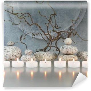 Vinylová Fototapeta Větve, kameny, svíčky