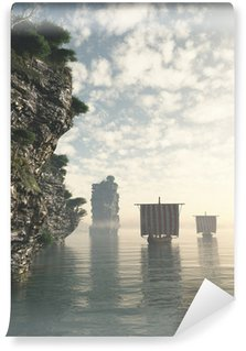 Vinylová Fototapeta Viking Longships v neznámých vodách