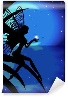 Vinylová Fototapeta Víla dívka drží hvězdu na pozadí s měsícem