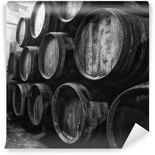 Vinylová Fototapeta Vinné sudy v černé a bílé