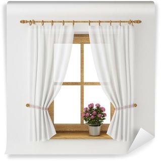 Vinylová Fototapeta Vinobraní dřevěný okenní rám se závěsem a květináče