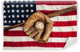 Vinylová Fototapeta Vintage baseball, bat a rukavice na americkou vlajku