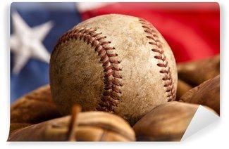 Vinylová Fototapeta Vintage baseballovou rukavici a míček s americkou vlajkou