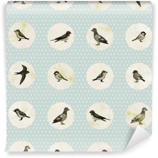 Vinylová Fototapeta Vintage bezešvé vzor s roztomilé ptáky. Vektorové bezešvé textury pro tapety, vzor výplně, webová stránka zázemím