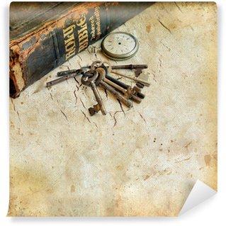 Vinylová Fototapeta Vintage Bible s pocketwatch a klíče grunge pozadí