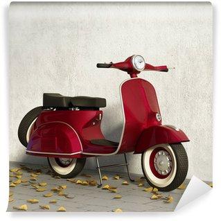 Vinylová Fototapeta Vintage červený motocykl Vespa, zdí s spadané listí