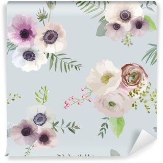 Fototapeta Winylowa Vintage Floral Tło - bez szwu - w wektorze