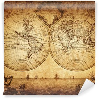 Fototapeta Winylowa Vintage, mapa świata 1733