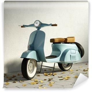 Vinylová Fototapeta Vintage modrý motocykl Vespa, zdí s spadané listí