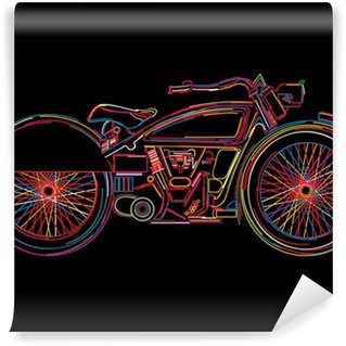 Vinylová Fototapeta Vintage Motocykl skica