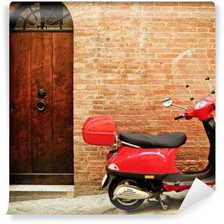 Vinylová Fototapeta Vintage obrázek červeného skútru na ulici