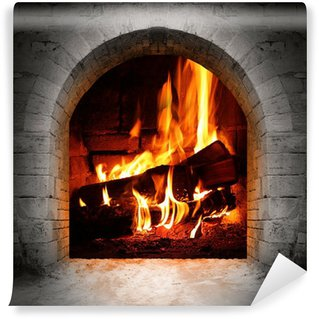 Vinylová Fototapeta Vintage ohniště s hořící polena.