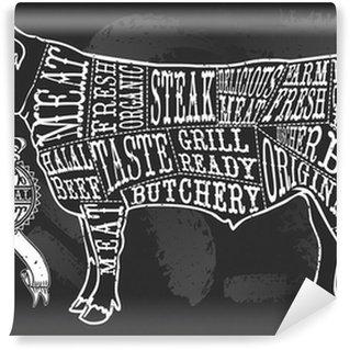 Fototapeta Vinylowa Vintage Tablica porcję wołowiny