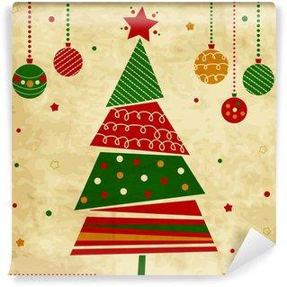 Vinylová Fototapeta Vintage Vánoční přání se stromem a ozdoby, vánoční karty