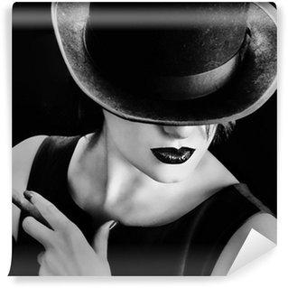 Vinylová Fototapeta Vintage žena s kloboukem a doutník