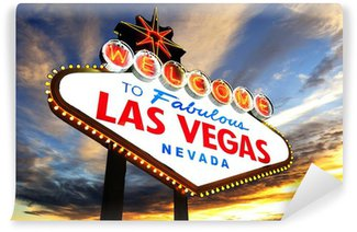 Vinylová Fototapeta Vítejte na Fabulous Las Vegas znamení při západu slunce