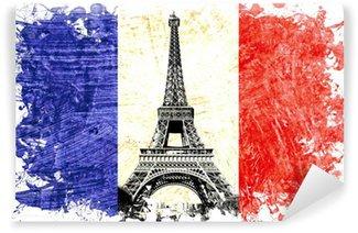Vinylová Fototapeta Vlajka Francie Paříž Eiffelova věž