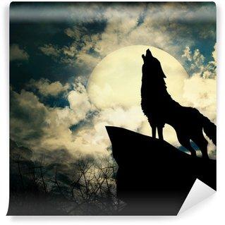 Vinylová Fototapeta Vlk silueta vyjící na měsíc v úplňku