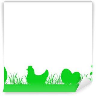 Vinylová Fototapeta Vlys tráva nízká - vejce, slepice, králík - Easter v2