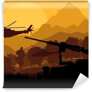 Vinylová Fototapeta Voják armáda vrtulníky, zbraně a dopravy v divokém d