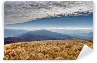Vinylová Fototapeta Výhled na hory s modrou oblohu a mraky (Bieszczady - Polsko)