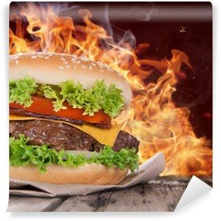 Vinylová Fototapeta Vynikající hamburger na dřevo