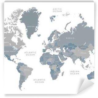 Vinylová Fototapeta Vysoce detailní mapa světa s označením. Vektorové ilustrace ve stupních šedi.