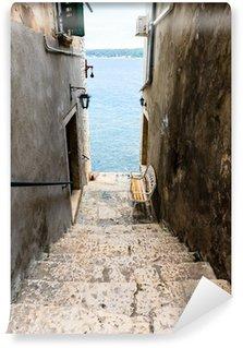 Fototapeta Winylowa Wąskie schody do morza w Rovinj, Chorwacja