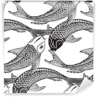 Fototapeta Winylowa Wektor bez szwu wzór z ręcznie rysowane Koi ryb