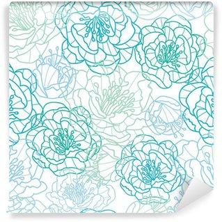 Fototapeta Winylowa Wektor niebieskie kwiaty line art elegancki bezszwowe tło wzór