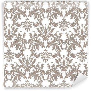 Fototapeta Winylowa Wektor Vintage barokowy kwiatowy wzór adamaszku. Luksusowe Klasyczne ornament Royal Victorian tekstury tapety, tkaniny, włókna. brązowy kolor