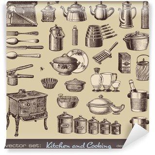Fototapeta Winylowa Wektorowa zestaw: kuchnia i gotowanie - zabytkowe elementy projektu