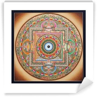 Fototapeta Winylowa Wewnętrzna część starożytnej tangka Ohm Mandala na białym