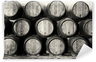 Vinylová Fototapeta Whisky nebo vinné sudy v černé a bílé