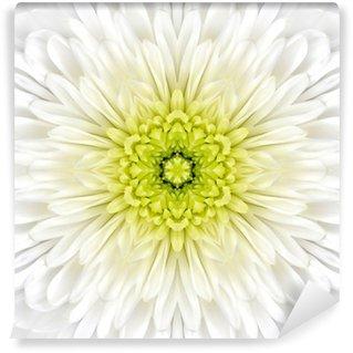 Vinylová Fototapeta White Mandala Concentric Flower Center Kaleidoscope
