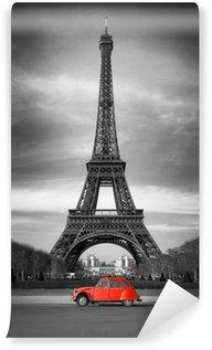 Fototapeta Vinylowa Wieża Eiffla i czerwony-paris samochód